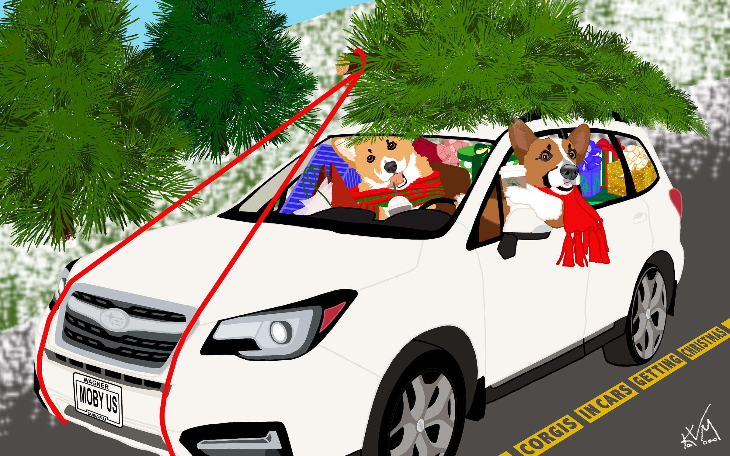 Corgis in Cars Getting Christmas (280)