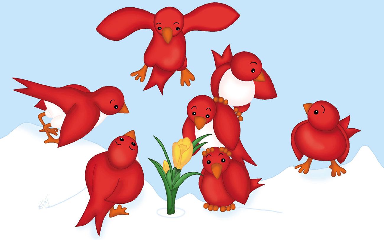 Red Birds and Crocus (015)